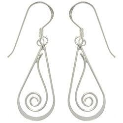 CGC Sterling Silver Teardrop with Spiral Dangle Earrings