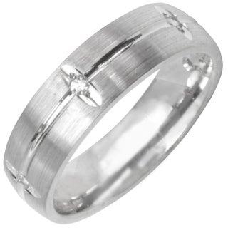 14k White Gold Men's 1/8ct TDW Diamond Wedding Band (G-H, SI1-SI2)