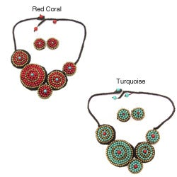 Whimsical Moon Turquoise/ Brass Beaded Jewelry Set (Thailand)