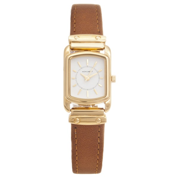 Monument Women's Goldtone Rectangle Case Analog Watch