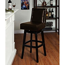 Brown Bicast Leather Swivel Barstool