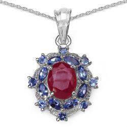 Malaika Sterling Silver 3 1/3ct TGW Ruby and Tanzanite Necklace