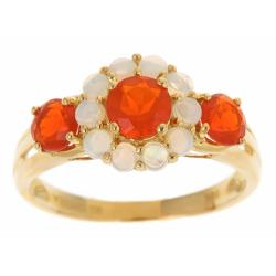 Anika and August D'Yach 10k Yellow Gold Fire Opals and Australian Opals Flower ring