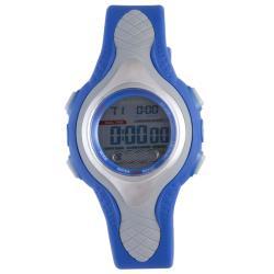 Diadora Men's Dual Time Display Buckle-Clasp Gray-Dial Rubber Digital Alarm Watch