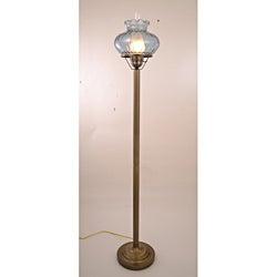 Hurricane With Rhombus Blue Glass Floor Lamp