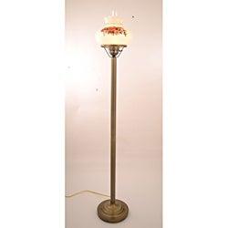 Floral Hurricane Antique Brass Finish Floor Lamp