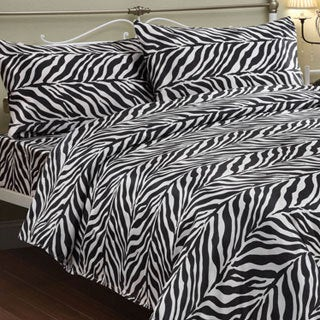 Zebra Black / White Faux Silk Satin Sheet Set