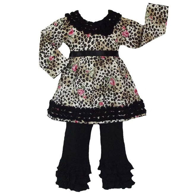 AnnLoren Girls' 2-piece Leopard Rose Outfit