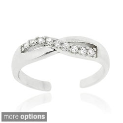 Icz Stonez Sterling Silver Cubic Zirconia Infinity Crossover Toe Ring