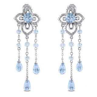 Miadora Sterling Silver 7ct TGW Gemstone and 1/10ct TDW Diamond Drop Earrings (H-I, I3)