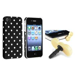 INSTEN Red/ White Dot Phone Case Cover/ Yellow Headset Dust Cap for Apple iPhone 4/ 4S