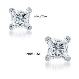 10k White Gold Tiny Princess Cut Single Diamond Earring (I-J, I1-I2)