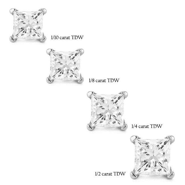 14k White Gold Princess Single Diamond Stud Earring (H-I, I2-I3)