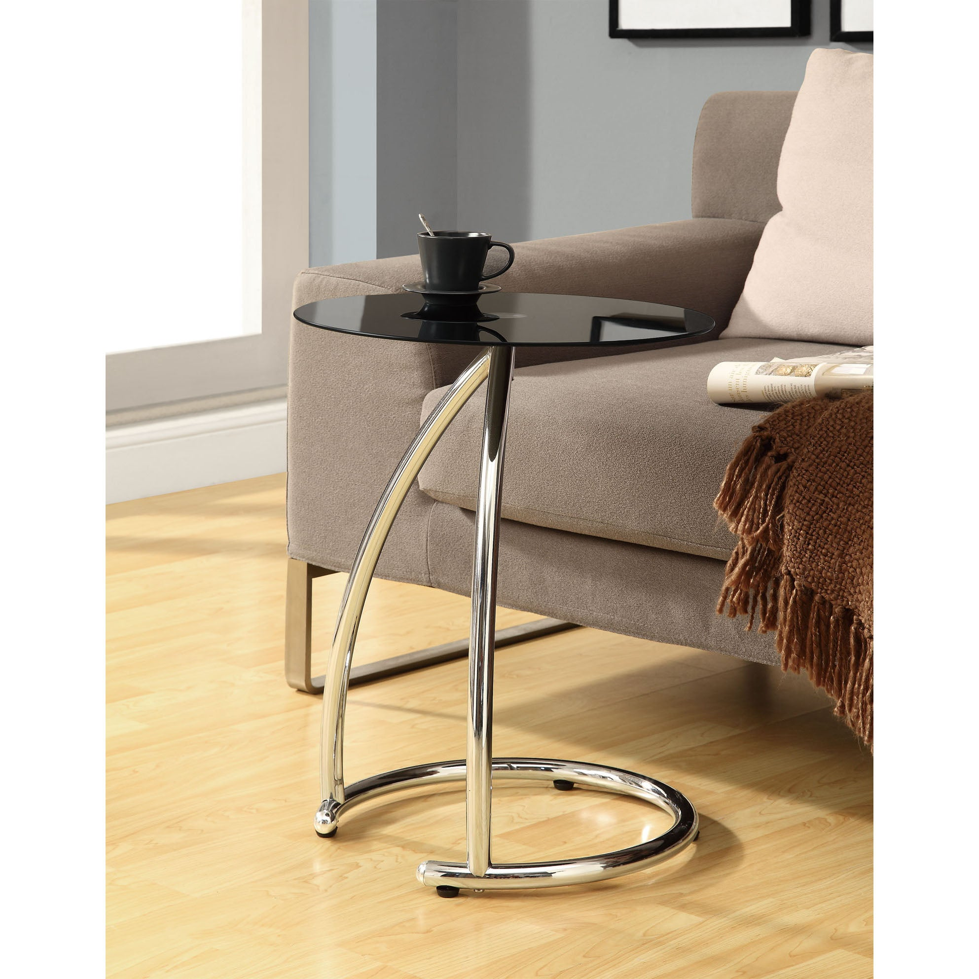 Black/ Chrome Metal Accent Table