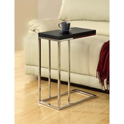 Compact Cappuccino/Chrome Metal Accent Table