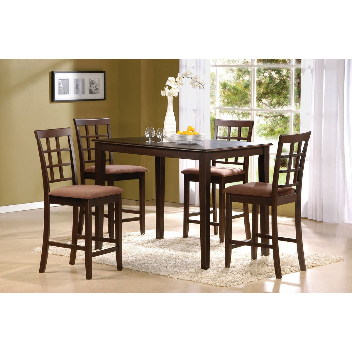 Cardiff 5 Piece Espresso Finish Pack Counter Height Dining Table Set