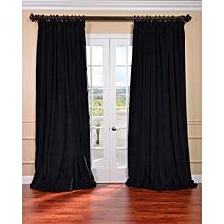 Warm Black Velvet Blackout Extra Wide Curtain Panel