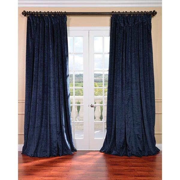 Midnight Blue Velvet Blackout Extra Wide Curtain Panel