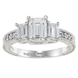 Alyssa Jewels 14k White Gold 2 3/4ct TGW Clear Cubic Zirconia Engagement-style Ring