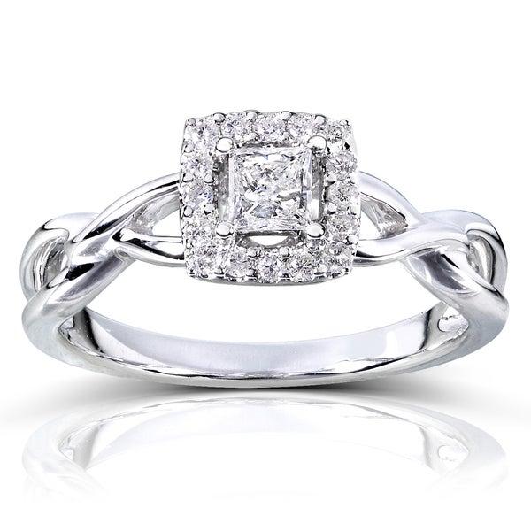 Annello 14k Gold 1/3ct TDW Diamond Halo Engagement Ring (H-I, I1-I2)