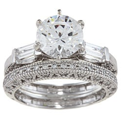 Alyssa Jewels 14k White Gold 2 1/2ct TGW Clear Cubic Zirconia Bridal-style Ring Set