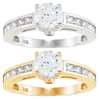 Alyssa Jewels 14k Gold 2.2 mm Round Cubic Zirconia Engagement-style Ring