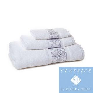 Eileen West White/ Silver Filigree 3-piece Towel Set