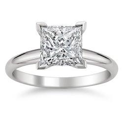 14k White Gold 2ct TDW Princess Cut Solitaire Diamond Ring (G-H, SI1-SI2)