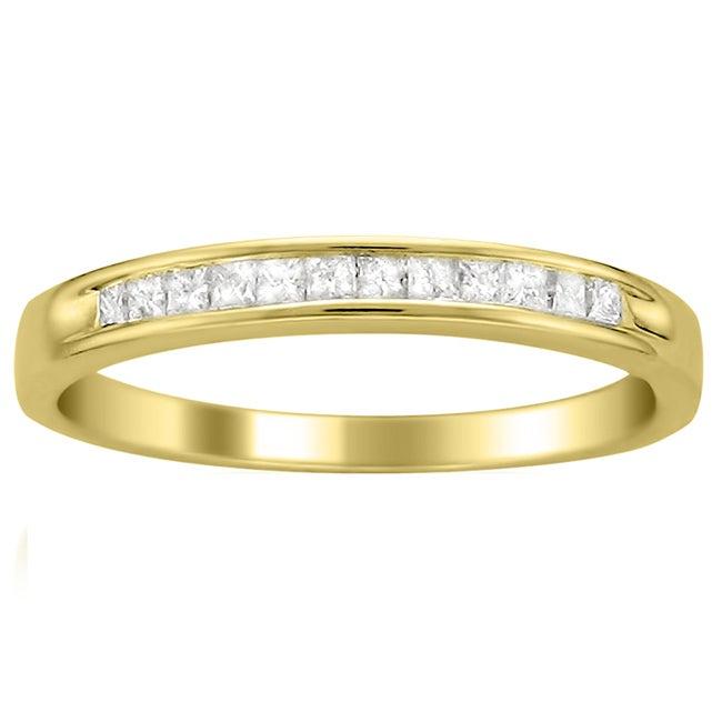 14k Yellow Gold 1/4 ct TDW Princess Cut Diamond Channel Set Wedding Band (I-J, I2-I3)