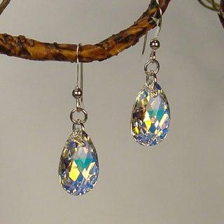 Jewelry by Dawn Sterling Silver Teardrop Aurora Borealis Crystal Pear Earrings