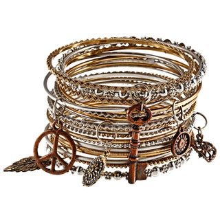 20-piece Mixed Metal Bangles with Charms (India)