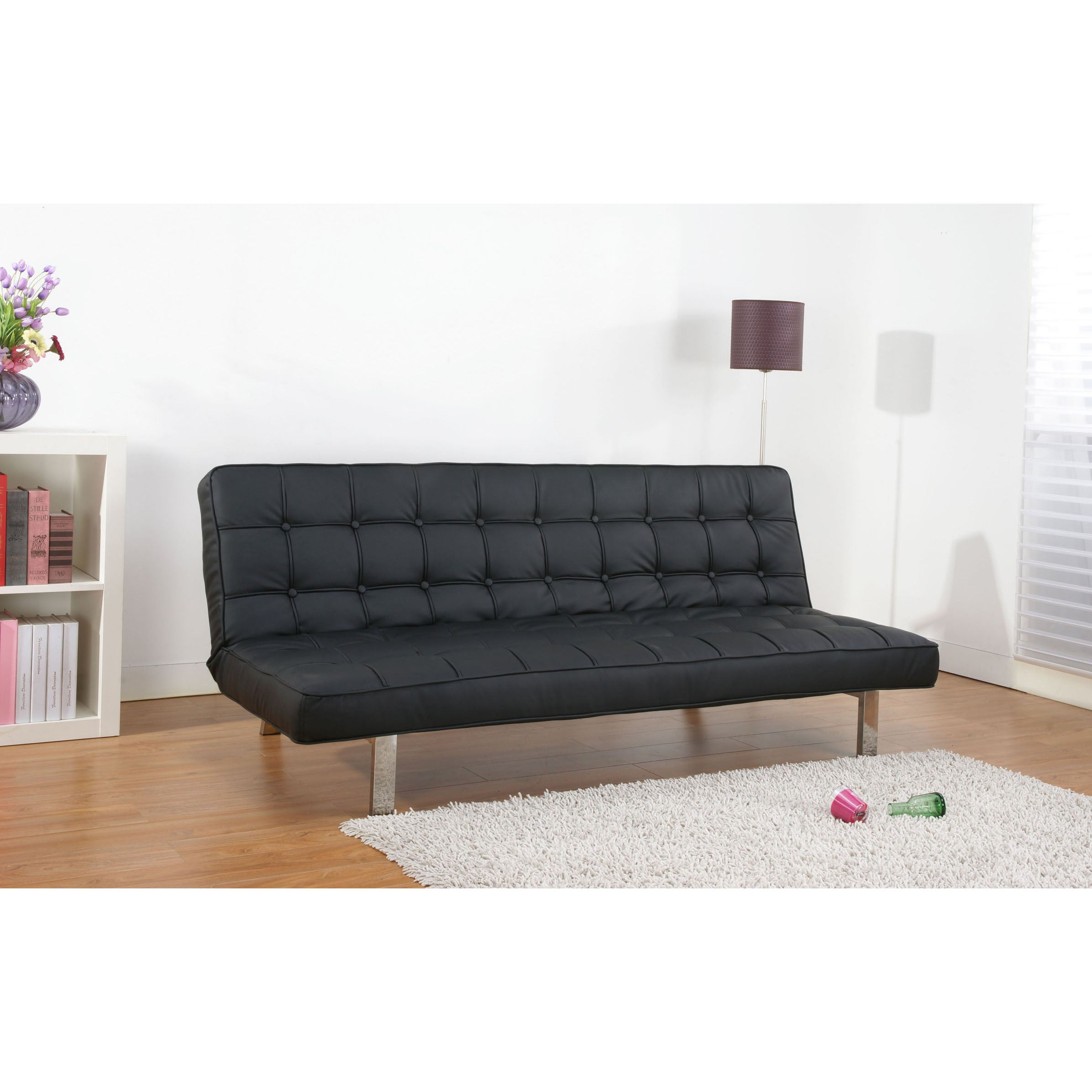 vegas black futon sofa bed overstock shopping great