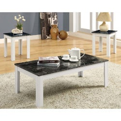 Grey Marble/ White 3-piece Promotional Table Set