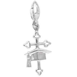 Sterling Silver Coss and Graduation Cap Charm