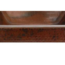 Rectangle Skirted Vessel Hammered Copper Sink