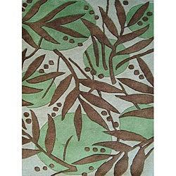 Alliyah Handmade Green New Zealand Blend Wool Rug (8' x 10')