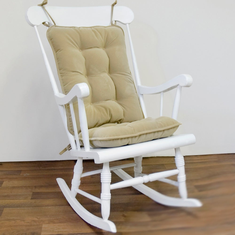 Khaki Ribbed Microfiber Standard Rocking Chair Cushion Set