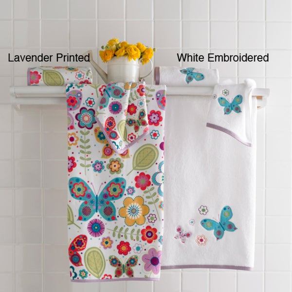 Butterfly Embroidered or Velour Printed 6-piece Towel Set