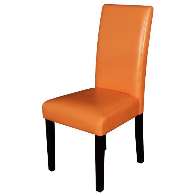 Villa Faux Leather Sunrise Orange Dining Chairs (Set of 2)