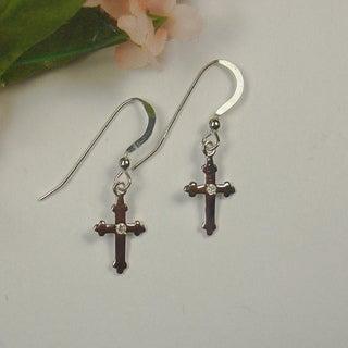 Jewelry by Dawn Small Sterling Silver Cross Dangle Earrings