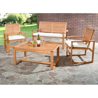 Outdoor Living Cushioned Brown Acacia Wood 4-piece Patio Set