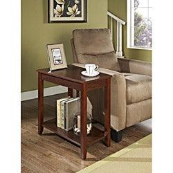 Espresso Trapeziod Wooden Chair Side End Table