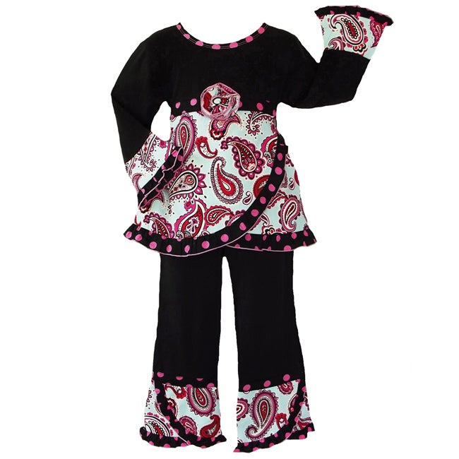 AnnLoren Girl's 2 piece Paisley and Polka Dots Outfit