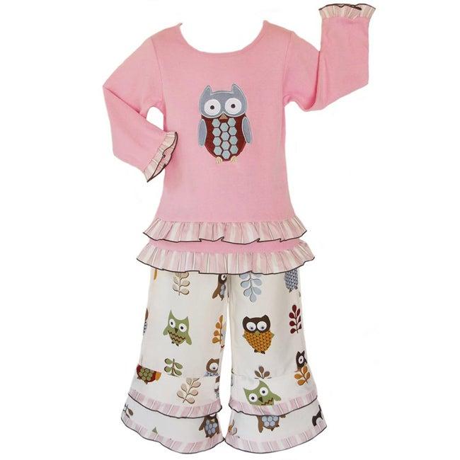 AnnLoren Girls 2 piece Adorable Owls Outfit