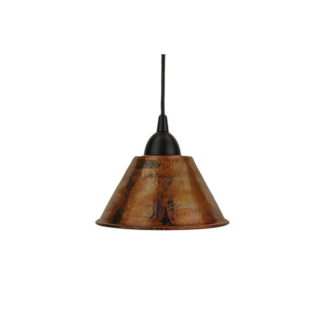 Hand Hammered Copper 7-inch Cone Pendant Light (Mexico)