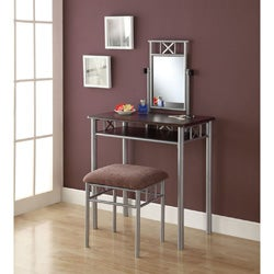 Cappuccino / Silver Metal Vanity Table / Stool Set