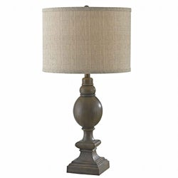 Dinah 29-inch High With Driftwood Finish And Tan Tweed Drum Shade Table Lamp