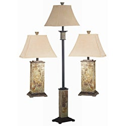 Landon Slate Finish 3-piece Lamp Set