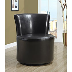 Dark Brown Leather Accent Chair with Swivel Base