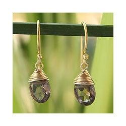 Gold Overlay 'Sublime Elegance' Smoky Quartz Earrings (Thailand)